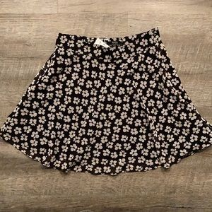 Bershka black floral skater mini skirt 28""
